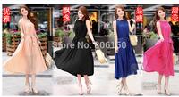 Bohemian dress beach dress solid color skirt lotus leaf collar chiffon sleeveless dress big yards