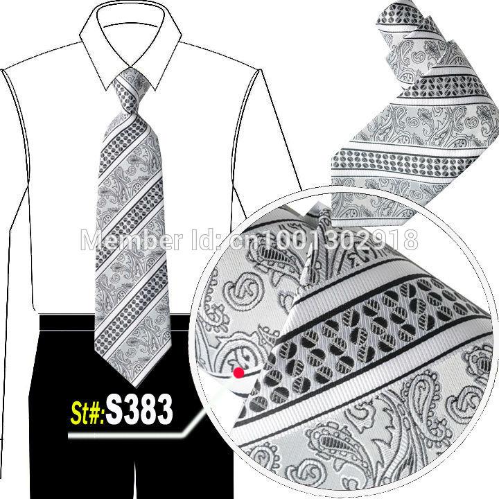 NEW Arrival Mens Imitation Silk Tuxedo Adjustable Neck Tie Free Shipping cravat grey paisley neckties tie TIE #S383HH(China (Mainland))