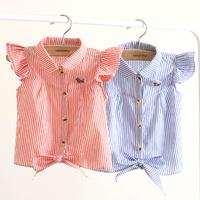 2014 summer Korean version of the new models Girls striped fly sleeve baby shirt children short sleeve shirt