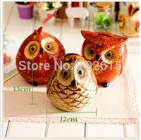 New arrival home decor statues handmade ceramic night Owl family saving pot piggy banks coin box