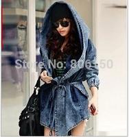 2014 spring autumn Hot European style ladies waist coat jacket hooded denim Windbreaker denim coat