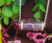 SALE Free ship!! 20sets 28*12mm tube glass globe  & two silver cover button base set  , glass vial pendant, DIY glass bottle