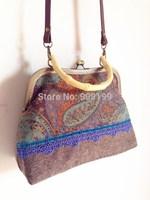 Original design high quality of perspectivity print lace handbag vintage handmade bag Women Messenger Bags