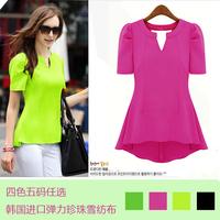 2014 new women's fashion clothing chiffon shirt summer candy color puff short-sleeve dovetail chiffon shirt free shipping