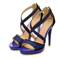 New 2014 Brand Design X-shaped  Purple Platform Women's High heels Sandals Shoes for Women Sandal Pump