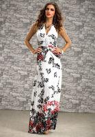 6 Colors Halter V Neck Sleeveless Ladies Flower Painting Printed Summer Dress Backless Off Shoulder Elegant Long Dress Evening