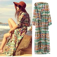 New Fashion  Sexy 2014 Hawaii Floral Long-sleeve Chiffon Dress , women printed Cardigan Chiffon  Dress  Summer Long Dress S-L