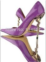 Unqiue Designer Purple Black Leather Pointed Toe Snake Heels Women Pumps Steel heels