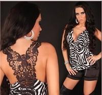 Di ramon new sexy black tassel v-neck backless lace sleeveless tops t-shirts wholesale free shipping