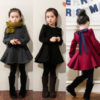 Retail Hot Sale Girls Winter Dresses Sweet Autumn&Winter Long-sleeve Children Bowknot Dress For Party Kids Clothing C20