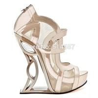 Designer women cut out wedge pump strappy mesh platform high heel shoes heelless strange high heels peep toe gladiator shoes