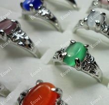Hot sale Pretty Fashion New wholesale jewelry mixed lots 50pcs cat eye silver plated rings free
