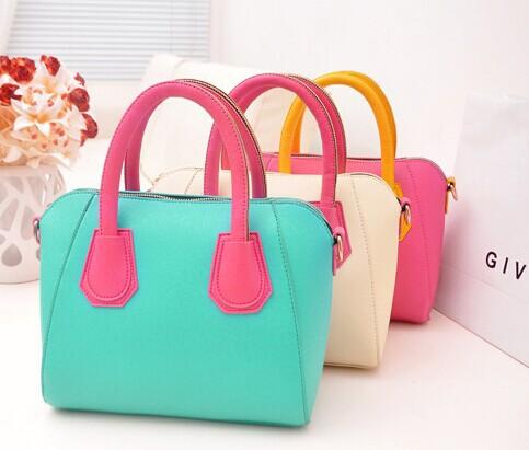 2014 frühjahr neue frauen handtasche süßigkeiten farbblock handtasche schulter tasche umhängetasche smiley tasche versandkostenfrei