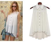 2014 New European Fashion Women Blouse Lace Shirt White and Black for female