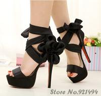 New 2014 Elegant Satin Fabric Flower Ribbon Sexy Thin Heels Rome Bandage  Women High heels Sandals shoes Free Shipping