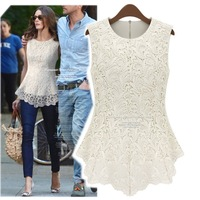 Lace Blouse Peplum Tops Sheer Shirts Spring & Summer Clearance Women Casual Sleeveless dresses shirt Blusas Plus Size 2014
