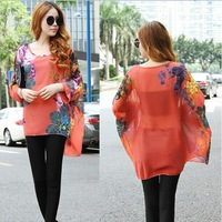 High Quality 2014 summer women fashion batwing sleeve oversize floral blouses ladies' casual flowers printed chiffon tees shirts