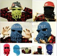 Novelty Handmade Knitting Wool Funny Beard Octopus Hats Caps Crochet Knight Beanies For Men Unisex Gift EJ850706