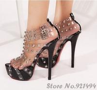 Sexy Transparent Sweet Tablets Rivet Strap Buckle Women Cool Punk High Heel Sandals Platform Shoes for Women