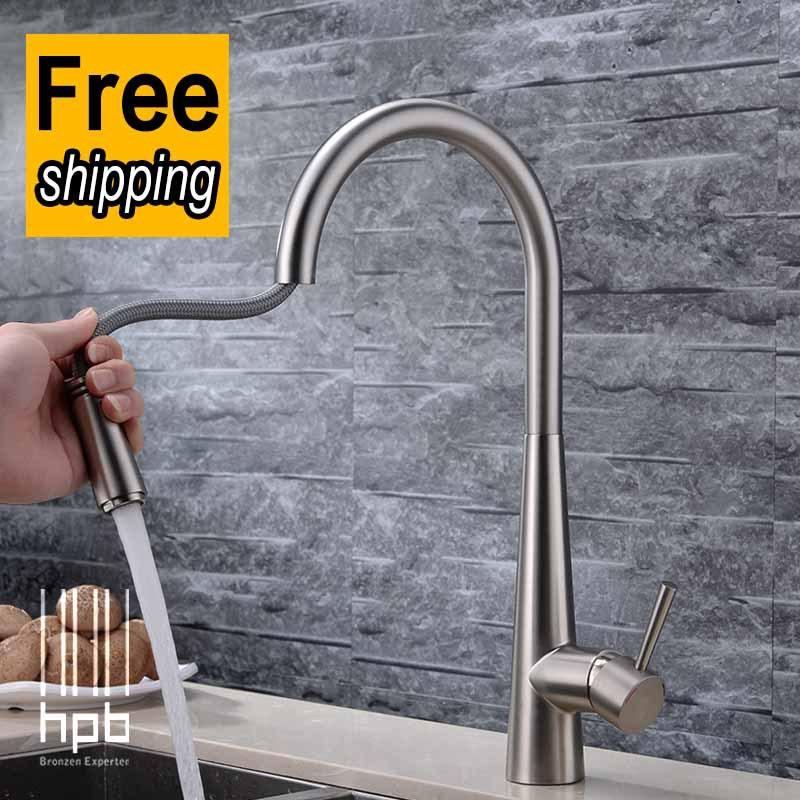 envío gratis hpb cobre agua fría y caliente pull out grifo mezclador de cocina cepillado grifo del fregadero hp4101