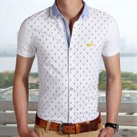 2014 new arrive print short sleeve slim fit casual male shirt men shirts M L XL XXL XXXL 9932