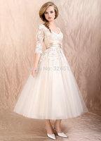 European Elegance Princess Tea-length A-Line Wedding Dress  Short Three Quarter Sleeve Ankle Length Bridal Gown White/Black Lace