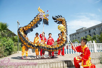 5.5M  child size CHINESE DRAGON DANCE Gold-plated Black gold Folk Festival Celebration Costume 6 children to play