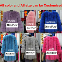 ManyFurs-2014 new pure natural Fox fur women coat whole piece slim warm genuine furs winter coats brand free shipping by EMS