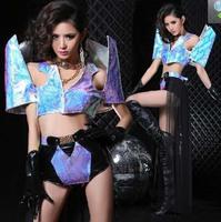 Sexy Woman Warrior Club Dance Costume Shrug Shoulder Top+Shorts+Gauze Skirt Cos Cosplay Jazz XS M L Free Shipping
