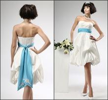 Lasted Design Wedding Dress 2014 Sweetheart Lace Appliqued Beaded Strapless Short Wedding Dress