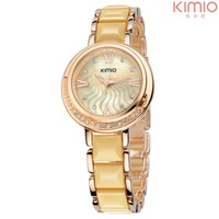 New 2014 fashion quartz watch rose gold for women Kimio brand luxury crystal diamonds ceramic wristwatch 10m waterproof dropship