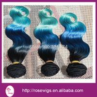Ombre hair extentions 6A grade  Brazilian Ombre Virgin Hair 1b/ Blue/Green three Tone Ombre Human Hair Extensions,  3pcs/lot