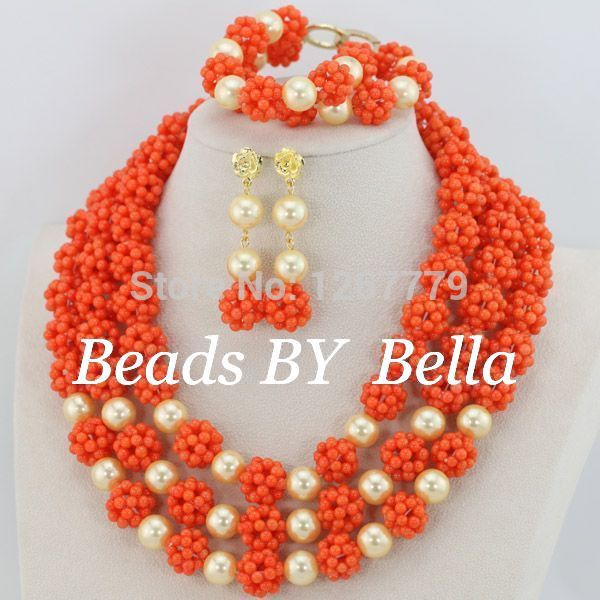 Nigerian Coral Beads Necklace Set For Women Pink Gold Plating Jewelry Set Costume Jewelry set Free