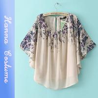 New summer loosen print t shirt 2014 fashion women t-shirt Batwing sleeve o-neck t shirts woman clothing