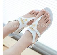2014 Summer new style  bohemian thong sandals original single metal student Roman flat sandals flip shoes,flat sandals