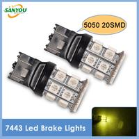 Hotest 5pcs 7443 20SM 5050 Led Brake Light Turn Signal Light Back-up Lamps Bulbs Yellow for all cars
