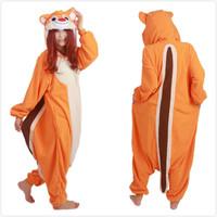 2014 New Chipmunk Animal Costume Footed Pajamas Fleece Adult Onesie One Pieces Sleepwear Cosplay Free Shipping