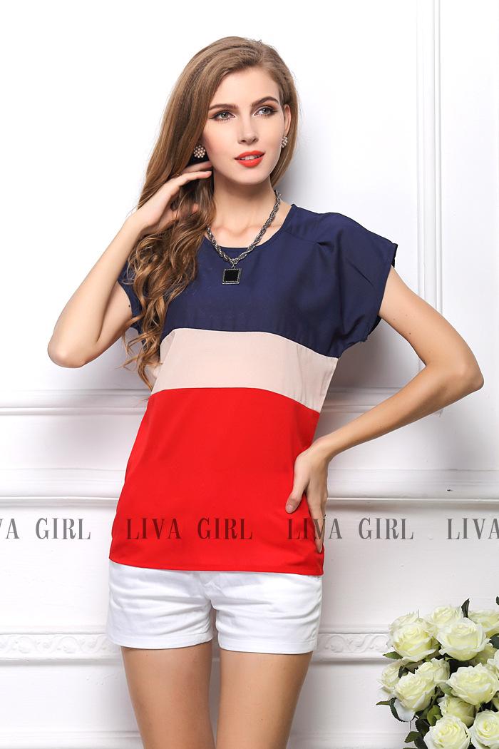 Nova 2014 Verão Mulheres Blusa Tees Multi- cor de impressão Stripe solta manga curta Chiffon Shirt Marca Casual Plus Size Blusa(China (Mainland))