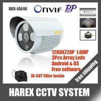 1280*720P 1.0MP 3pcs array leds IP Camera ONVIF 2.0 Waterproof IR CUT Night Vision P2P Plug and Play with bracket, free shipping