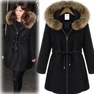 Black Fur Trim Coat