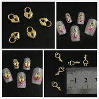 30pcs/pack Mix Golden Key Heart Lock Knit Set Metal 3D Nail Art StudsJewelry Tips Salon Phone Cover Salon DIY Decoration