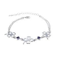 New Women Jewelry Crystal Bracelets Clover Bracelet Crystal Bracelets Silver Bracelets & Bangles ML-658