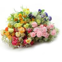 New 24 Head Artificial Chrysanthemum Carnation Flower Bush Bouquet Home Wedding Free Shipping