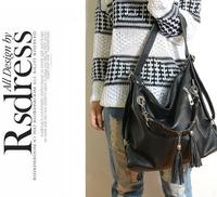 2014 new Women Leather handbags shoulder totes tassel bag  women messenger bags bolsas femininas
