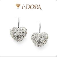 2014 Hot sell diy ts fashion silver plated dangle earrings jewelry diamante Heart TB883 silver