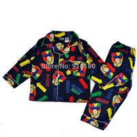 1 set retail kids boys Fireman Sam long sleeved flannelette flannel sleepwear pyjamas Pajama Sets