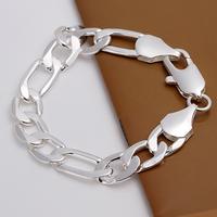 Wholesale H163 Trendy 925 Sterling Silver Fashion 12mm Men Bracelet Chain,Top Jewelry Bracelet Free Shipping