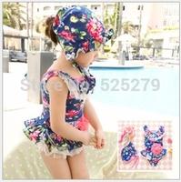 Free shipping new 2014 Korean style children swimwear girls /baby swimsuit One Piece Girls Swimwears
