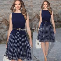 Chiffon 2014 New Celebrity Stylish 2014 Womens Casual Polka Dot Party Wear To Work Tunic Sleeveless Elegant Peplum bodycon Dress