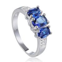 Free Shipping Size 7 8 9 Jewelry Brand Women New Trendy  Blue Zircon Ring Wedding Rings Birthday Gift